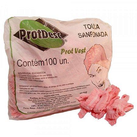 Touca Descartável TNT Rosa Bebe Protdesc c/100 unid.