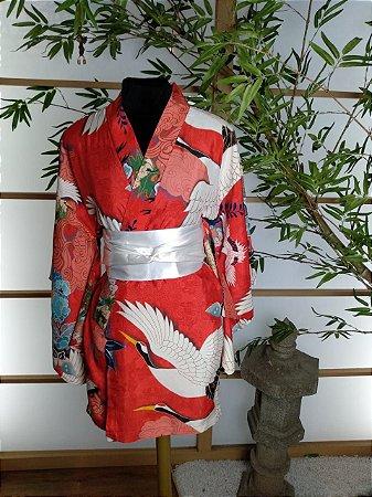 Kimono Curto Tsuru Vermelho Alaranjado