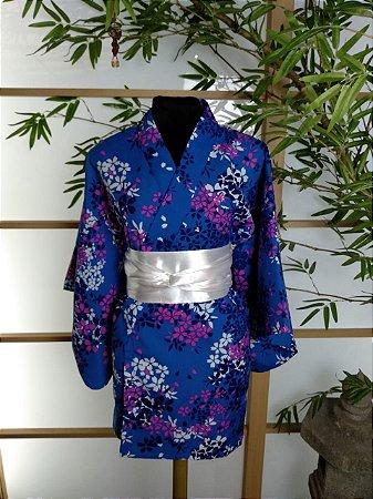 Kimono Curto Sakura Azul