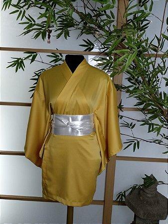 Kimono Curto Liso Amarelo