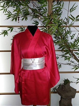 Kimono Curto Liso Rosa