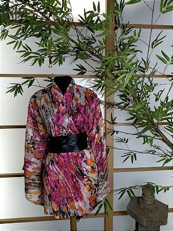 Kimono Curto Rajado Rosa