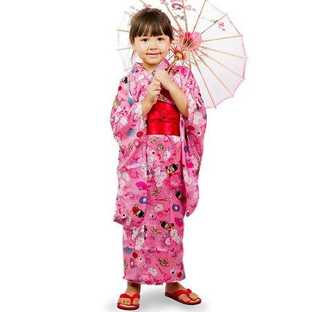 Kimono Infantil Rosa Kokeshi