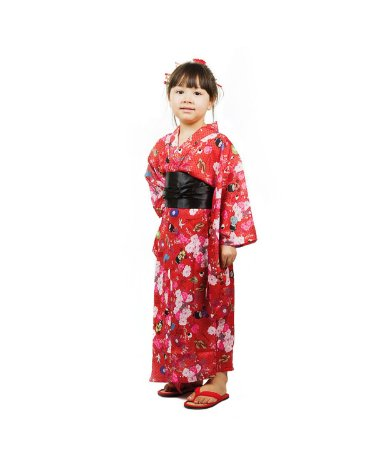 Kimono Infantil Vermelho Kokeshi