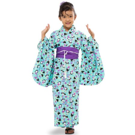 Kimono Infantil Kokeshi Verde Água