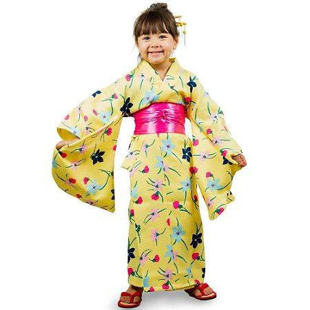 Kimono Infantil Amarelo Flores