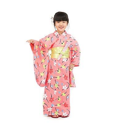 Kimono Infantil Rosa Florado