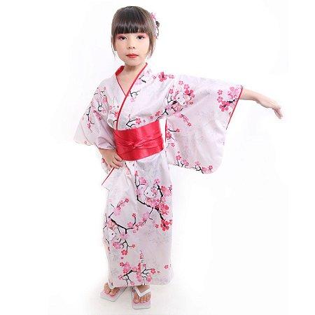 Kimono Infantil Offwhite Hello Kitty '19 Gola Vermelha