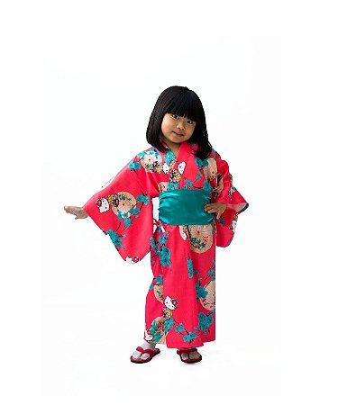 Kimono Infantil Salmão Hello Kitty '18