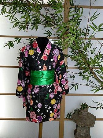 Kimono Curto Florido Preto