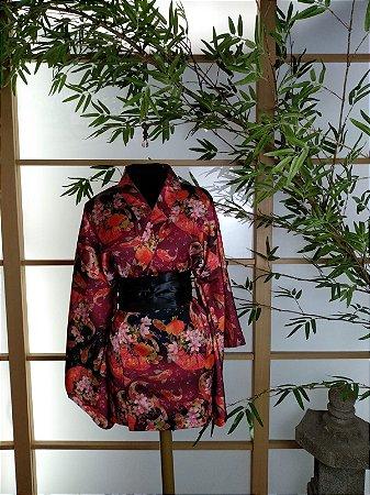 Kimono Curto Carpa Vermelho