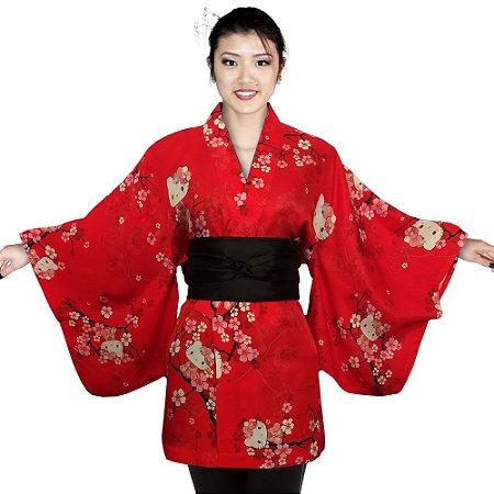 Kimono Curto Vermelho Hello Kitty '19