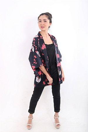 Kimono Curto Preto Sombrinha