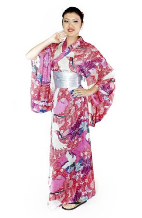 Kimono Longo Rosa Tsuru