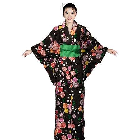 Kimono Preto Florido