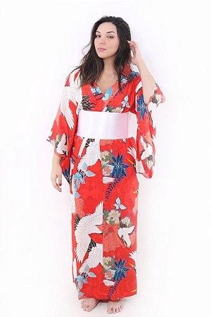 Kimono Longo Tsuru Vermelho Alaranjado