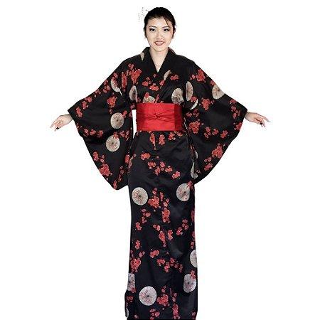 Kimono Longo Sombrinha Preto