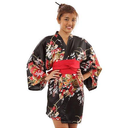 Kimono Robe Floral Preto
