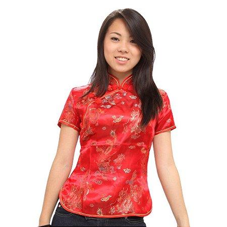 Blusinha Chinesa Vermelha Dragão