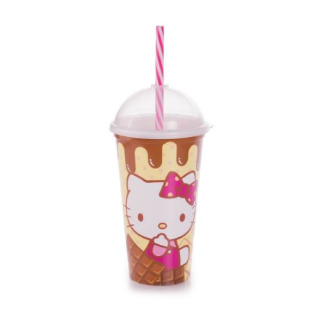 Copo Hello Kitty Shake com Tampa e Canudo 500ml