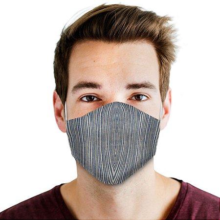 máscara bico de pato listras azul/ dourado adulto