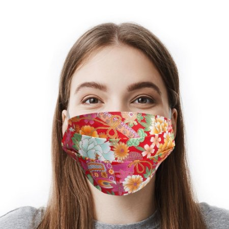 Máscara Floral Vermelha Tecido Importado
