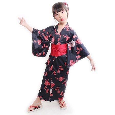 Kimono Infantil Preto Sakura