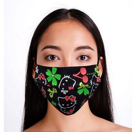 Máscara Hello Kitty Preta Neon