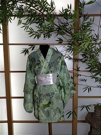 Kimono Curto Brilho Verde
