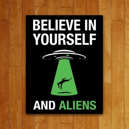 Placa Decorativa Believe In Aliens
