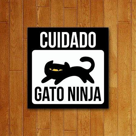 Placa Decorativa Gato Ninja - Um Sábado Qualquer