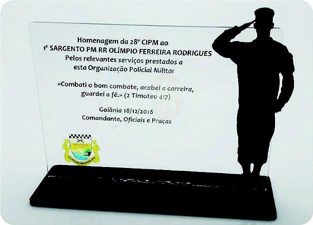 Placa de homenagem com base - Modelo Padrão