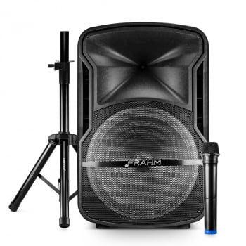 Kit Caixa de Som Amplificada Multiuso Frahm - CM15 com Tripé e Microfone 500W