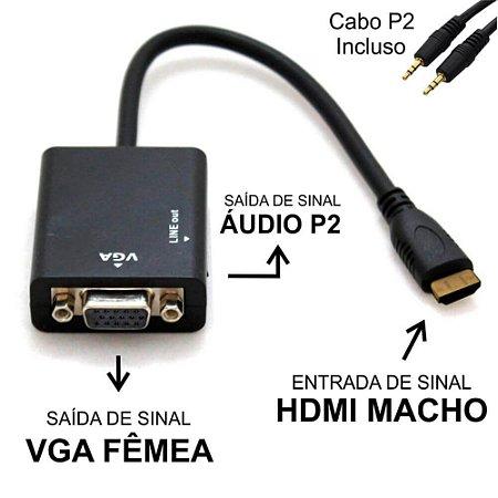 Cabo Conversor Adaptador De Hdmi Para Vga Com Áudio