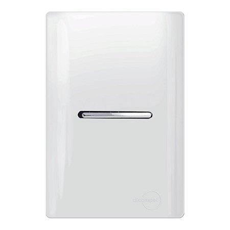 Interruptor Simples Horizontal_Branco c/ Cromada _Dicompel Novara