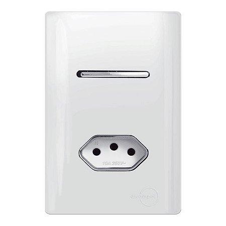 Interruptor Simples + 1 Tomada 20A - Dicompel Novara - 1200/21