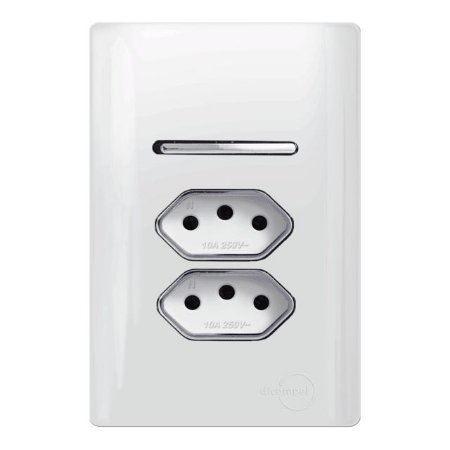 Interruptor  Simples + 2 Tomadas 20A - Dicompel Novara - 1200/155