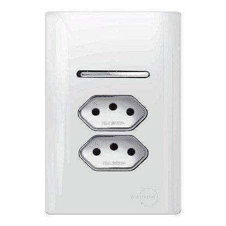 Interruptor Simples + 2 Tomadas 10A - Dicompel Novara - 1200/153