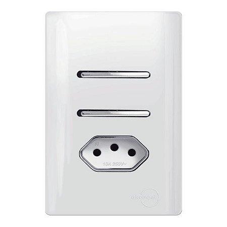 Interruptor Duplo 2 Simples + 1 Tomada 10A - Dicompel Novara - 1200/23