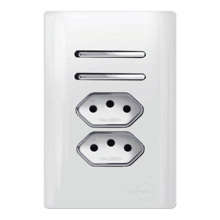 Interruptor Duplo 2 Simples + 2 Tomadas 10A - Dicompel Novara - 1200/178