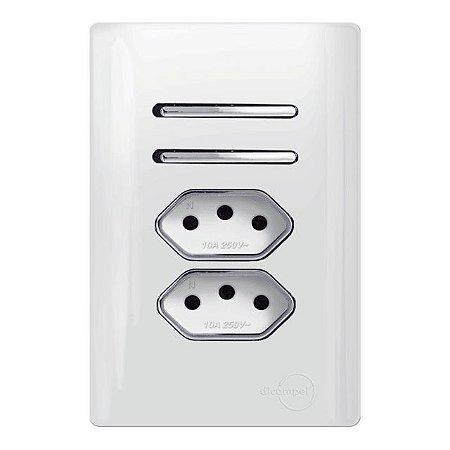 Interruptor Duplo 1 Simples + 1 Paralelo + 2 Tomadas 10A - Dicompel Novara - 1200/182