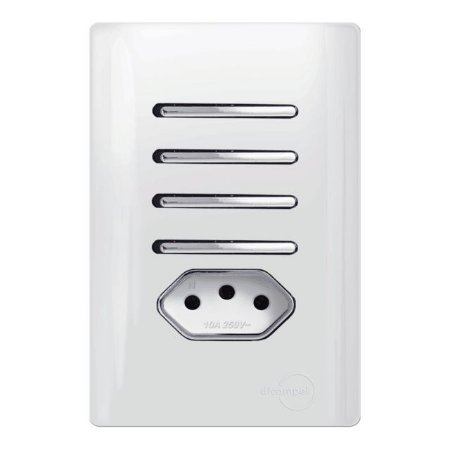Interruptor Quadruplo  Simples + 1 Tomada 10A - Dicompel Novara - 1200/184