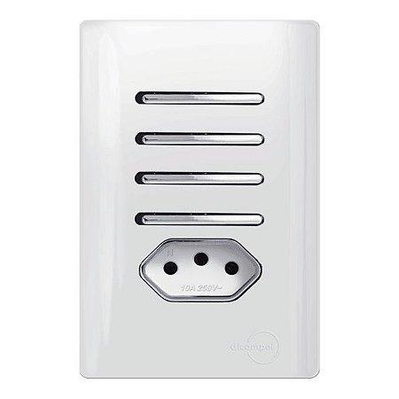 Interruptor Quaduplo 2 Simples + 2 Paralelos + 1 Tomada 20A - Dicompel Novara - 1200/189