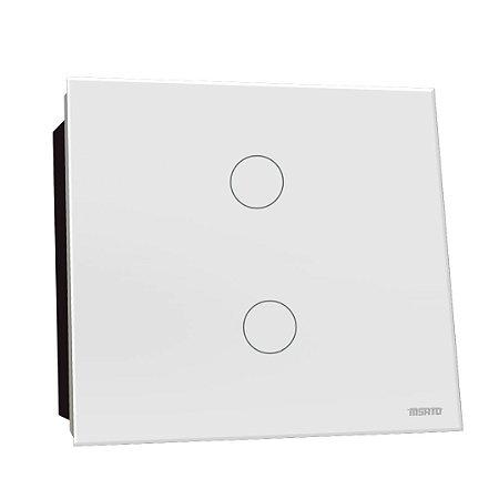 Interruptor Touch Rele 2 Pads - Branco Quadrado 4x4