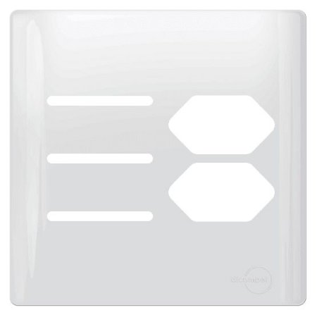 Tampa p/ 2 Tomadas + 3 Interruptores 4X4 - Dicompel Novara - 1100/104