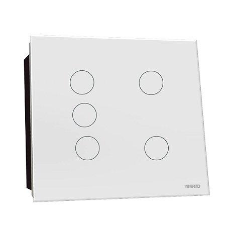 Interruptor Touch Rele 5 Pads - Branco Redondo 4x4
