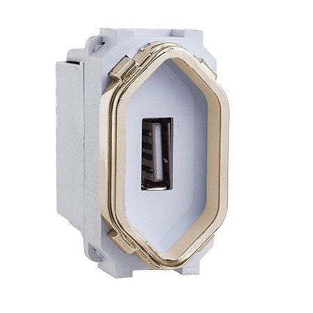 Módulo USB 2A - Dicompel Novara - Branco e Dourado 1200/168