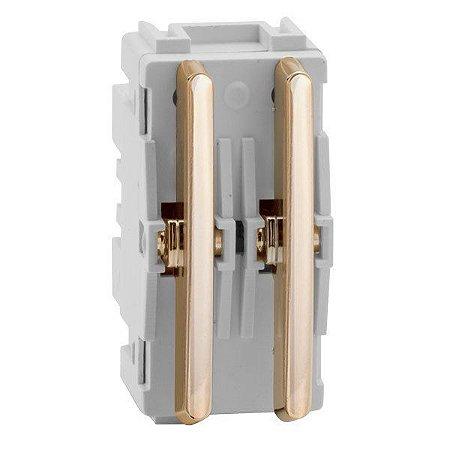 Módulo Duplo Interruptores Paralelos - Dourado - Dicompel Novara - 1200/78 - (USO ESPECIAL)