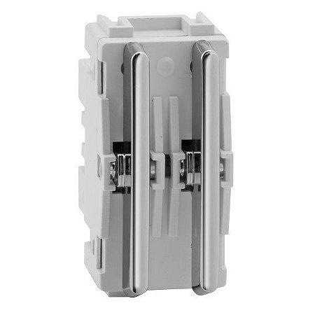Módulo Duplo Interruptores Simples - Cromado - Dicompel Novara - 1200/74 - (USO ESPECIAL)