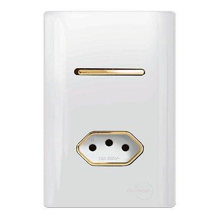 Interruptor Simples + 1 Tomada 10A - Dicompel Novara - 1200/19-Gold